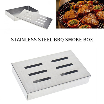 Stainless Steel Barbecue Meat Smoker Box For BBQ Grill Wood Chips Grill Accessories Barbecue Meat Smoking With Hollowed Lid #15 цена 2017