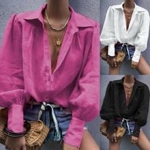 Blusa holgada de manga larga con botón debajo del cuello para Mujer, blusa informal Lisa a la Moda para oficina