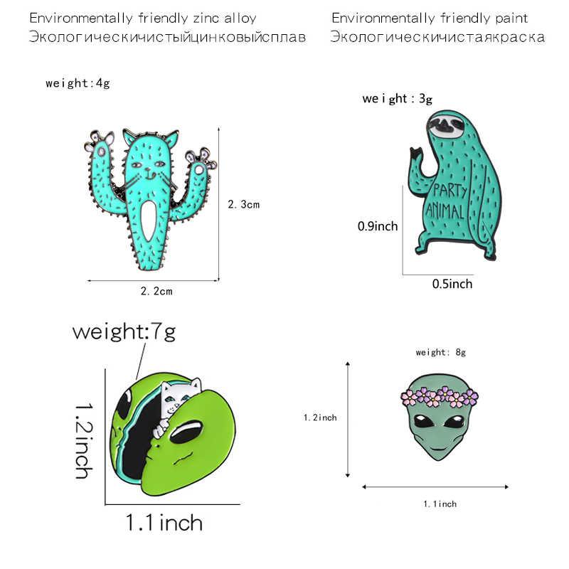 קריקטורה Alien אמייל סיכות מצחיק חתול תמנון עצלן קקטוס תג סיכת זר נשים alien דש סיכות תכשיטי מתנת מעיל תיק פין