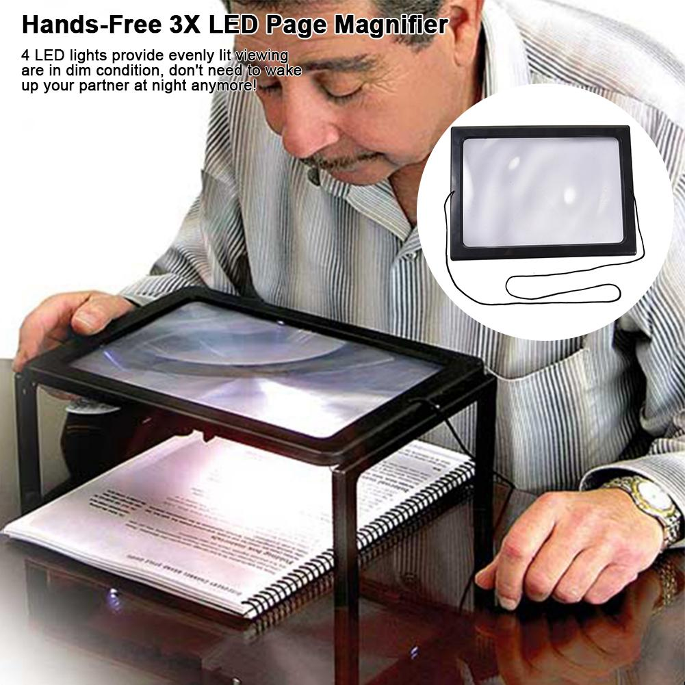 Full-Page Rectangular 3X Reading Magnifier LED Lighted Illuminated Foldable Desktop Portable Maginifier For Elder Kids