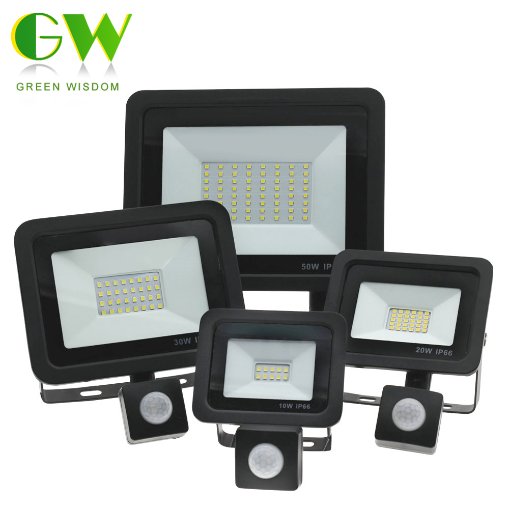 PIR Motion Sensor LED Floodlight 220V Waterproof Spotlight 10W 30W 50W 100W Flood Light Outdoor Lighting For Garden Street Wall