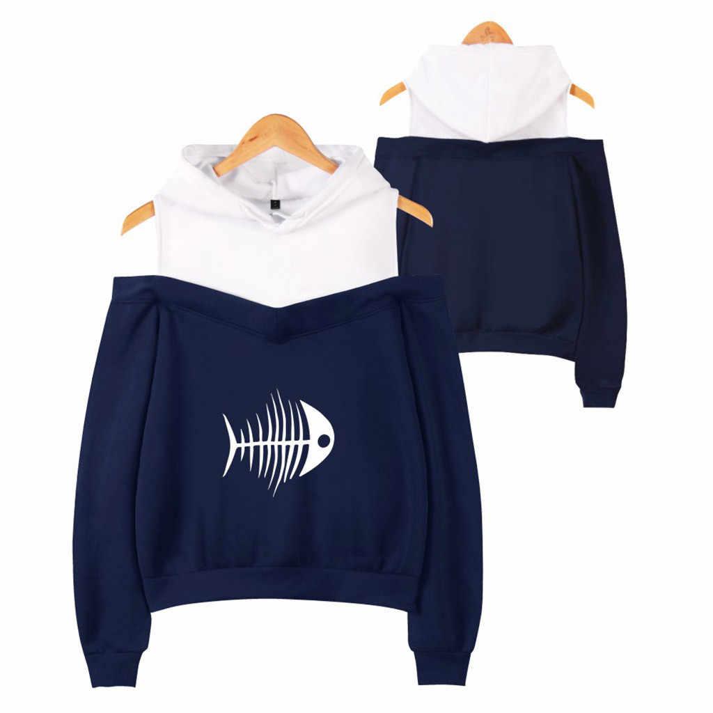2019 Womail damska off-ramię Fishbone Sexy kobiety bluzy bluza Exclusive Kpop Casual jesień fajne bluzy niestandardowe XS-2XL