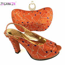Comfortable Platform Women Sandals Nigerian MaMa Matching Shoes and Bag Set with Shinning Crystal African Best Match for Wedding(China)