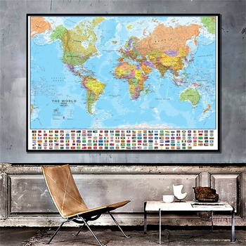 Vintage World Map 84*59cm Non-woven Poster Wall Chart Retro Paper Map of The World with National Flags Painting Decoration flags of the world