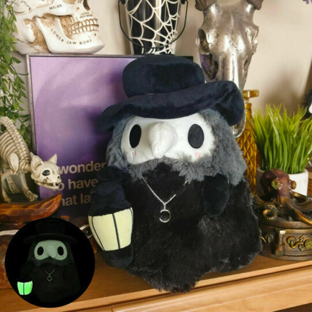 1PC 20 CM Beak Face Plague Doctor Plush Stuffed Dolls Toy Soft Cartoon Animals Shaped Luminous Plush Toys Gifts