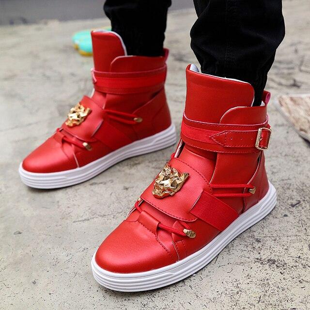 Los hombres de alta superior zapatillas de deporte de moda hebilla plataforma pisos botas Zapatos hombre exterior 6