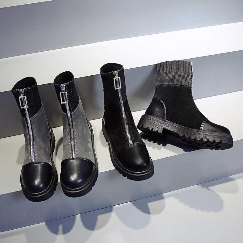 ERNESTNM ข้อเท้ารองเท้าแฟชั่นผู้หญิงซิปสีดำ PU หนังผ้ารองเท้าผู้หญิงฤดูใบไม้ร่วง Botas Mujer Invierno