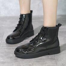 цены на Women Boots 2019 New Autumn Winter Camel Black Patent Leather Ankle Boots Martin Boots Thick Heel Slip Casual Ladies Shoes  в интернет-магазинах