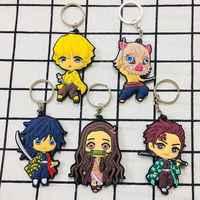 Anime Demon Slayer Keychain Cute Brinco Blade Of Ghost Key Chain Kamado Tanjirou Pompom Yaiba Keyring Pendant Accessories 2020
