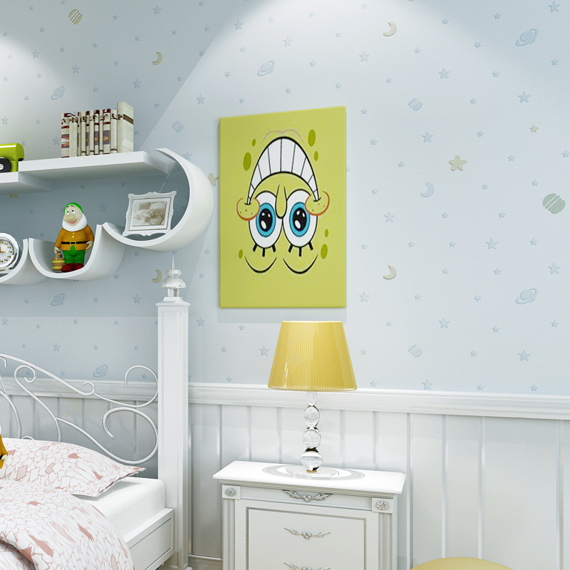 Modern Cartoon CHILDREN'S Room Wallpaper Environmentally Friendly Non-Woven Paper Star Moon Warm Boys And Girls Bedroom Wallpape