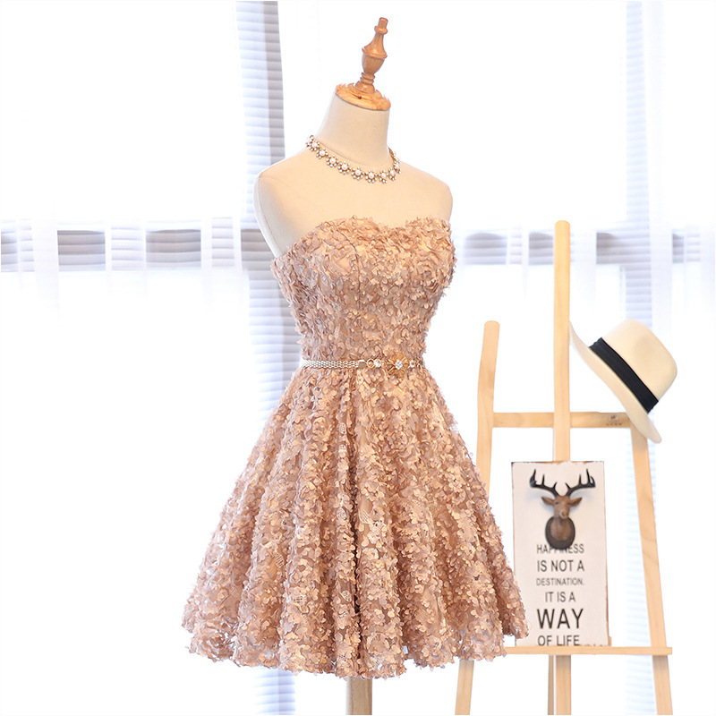 2019 New Style Evening Gown Party Host Debutante Dress Slim Fit Slimming Students Graduation Short Dress