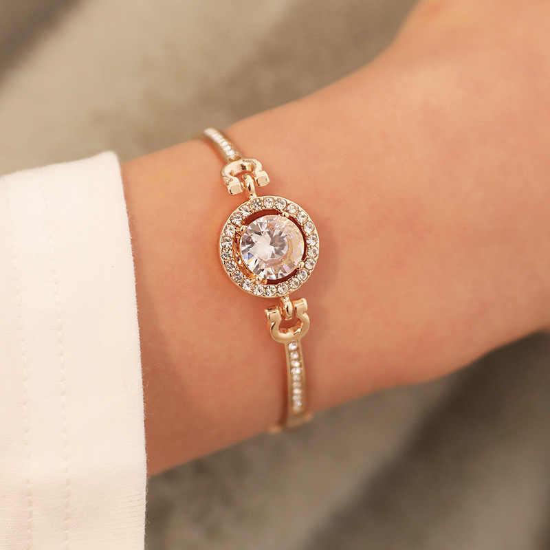 Moda nowa osobowość szlachetny Rhinestone Charm bransoletki złoto srebro różowe złoto ślub bransoletka kobiety moda biżuteria