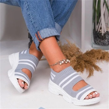 wolf who summer women air mesh water breathable beach shoes platform casual ladies krasovki slipony slip on loafers female x104 Women Breathable Comfy Sandals 2020 Fashion Ladies Summer Platform Shoes Plus Size Slip On Flat Casual Female Sandals