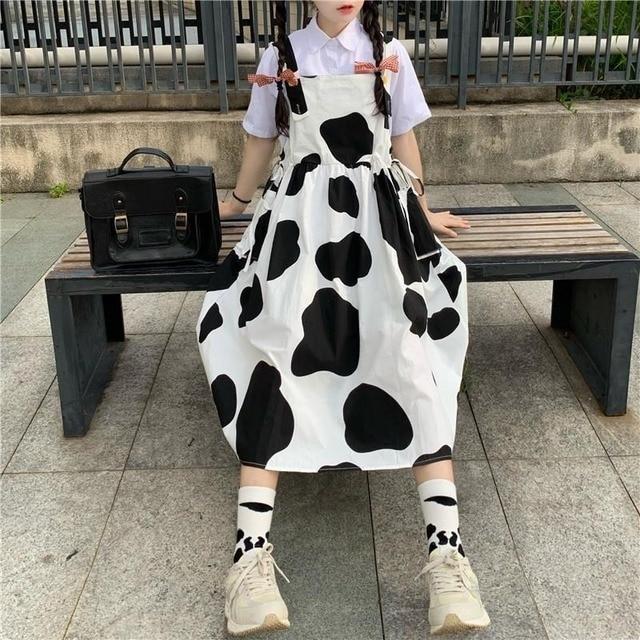 QWEEK Women's Kawaii Cow Print Dress Lolita Milk Cute Sundress Japanese Harajuku Style Cute Kawaii Lolita Dress Outfit Mori Girl 2