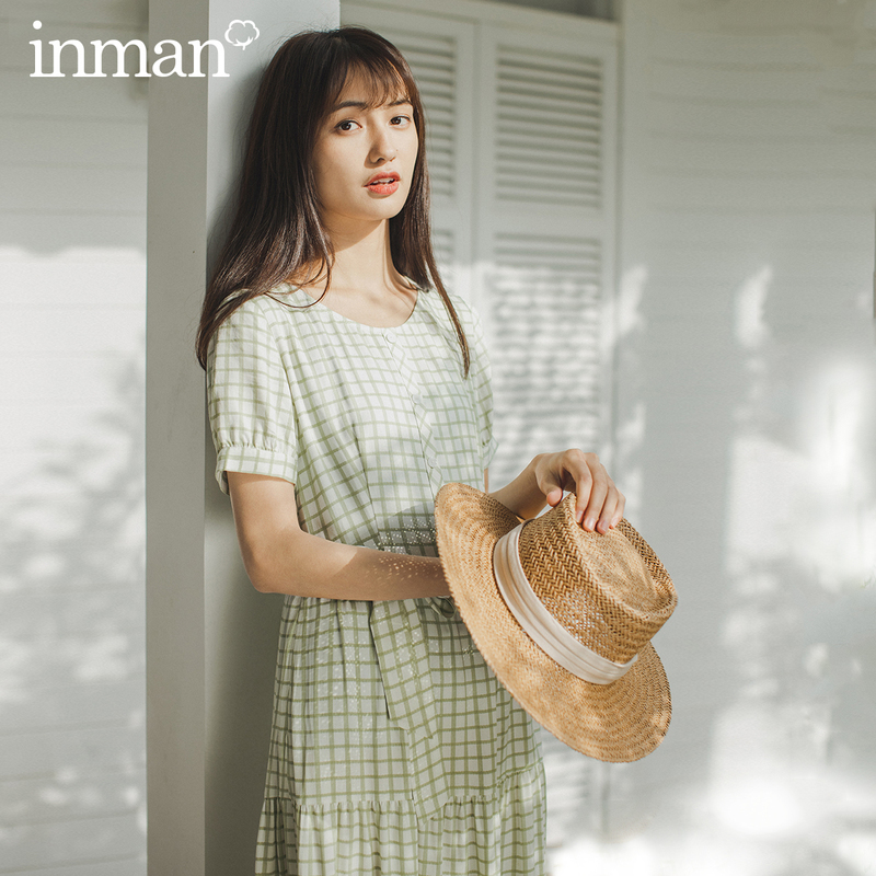 INMAN 2020 Summer New Arrival French Style V-neck Lace-up Short Sleeve Pure And Fresh Elegant Dress