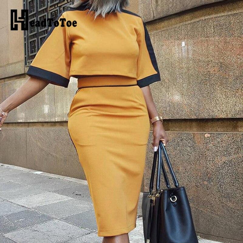 Colorblock Short Sleeve Crop Top & Slinky Skirt Sets Women 2 Piece Outfits