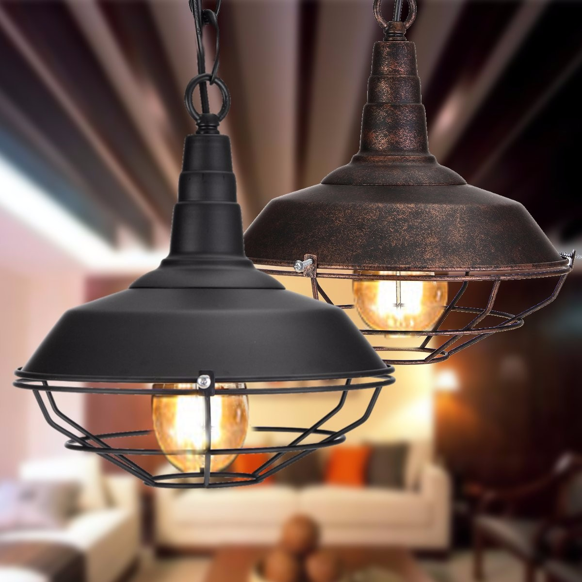 Vintage Industrial Rustic Flush Mount Ceiling Light Metal Lamp Fixture American style village Style Retro Light Lamps|Ceiling Lights| |  - title=