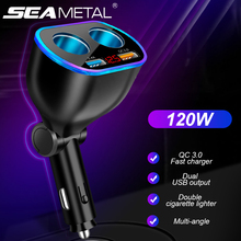 3 in 1 Car Cigarette Lighter Socket Splitter Plug Dual USB Car Charger QC3.0 Quick Charging with Breathing light Voltage Monitor