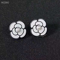 Hot Copper Zircon Camellia Flower Stud Earring Women Wedding Lucky Rose Gold Earring Pearl Jewelry 925 Silver Ear