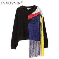 TVVOVVIN 2019 Autumn Winter streetwear New Europe Rainbow Tassel Patchwork Mesh Plus Down Thick Women's Sweatshirt Tops A479