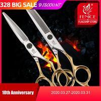 Fenice Gold Hair Scissors Japan 440C Stainless Steel 6.0inch Hair Thinning Scissors Hair Cutting Shears Salon Barber Scissors