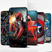 For Xiaomi Redmi Note 7 Black TPU Cute Cartoon Phone Case Capa Fundas