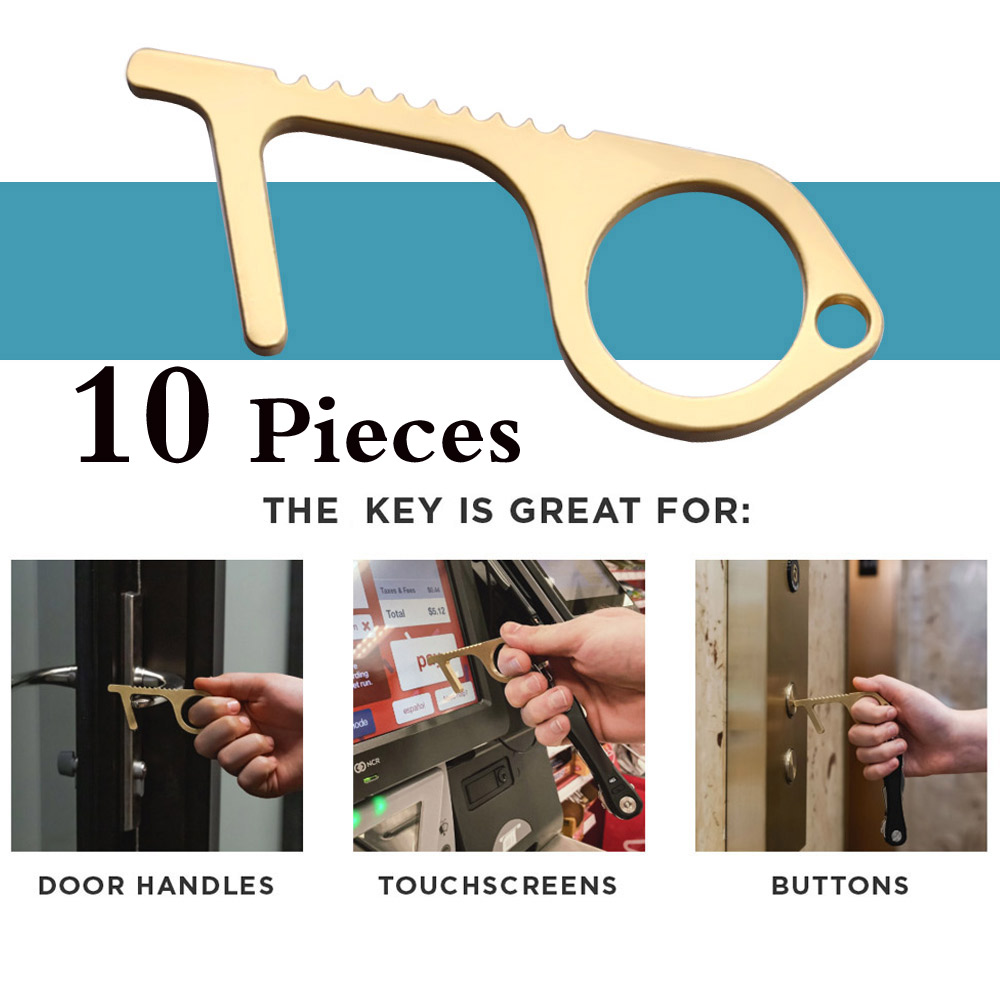 Wholesale 10PCS cleankey brass clean key door opener no touch antimicrobial brass hand tool for dropshipping 2020