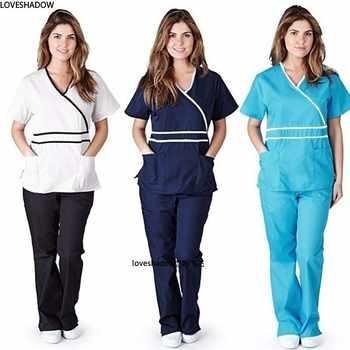 Women Scrub Top/Scrub Set Dentist Spa Uniforms Vet Workwear Clothes Mock Wrap V Neck Top Elastic Waist Drawstring Scrub Pants - DISCOUNT ITEM  40 OFF All Category