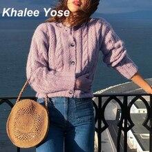 KHALEE YOSE Purple Sweater Cardigan Women Twist Knitted Hollow Out Oversized Button Front Sweater 2019 Autumn Winter Sweaters