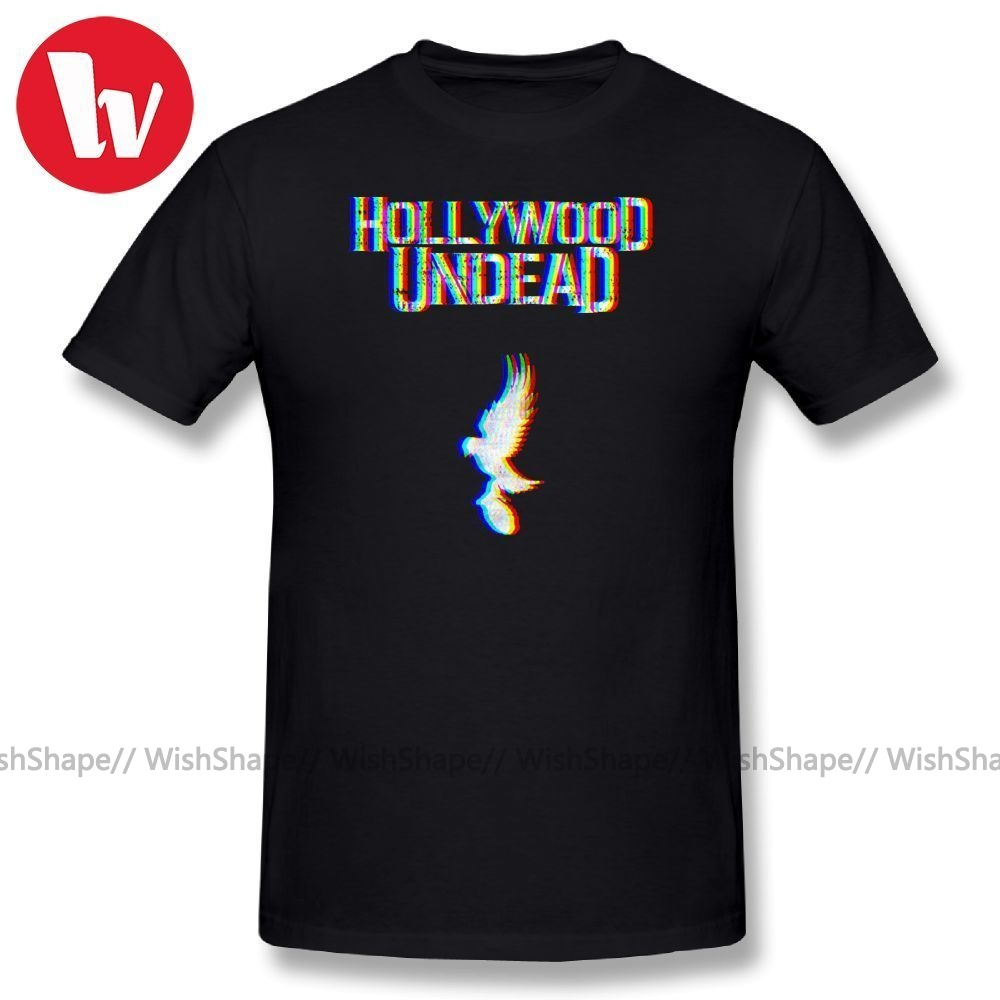 Hollywood Undead Tee Shirt Glitched Print T Shirt Funny O Neck T-Shirt Summer Casual Cotton Men's Short Sleeve Music T-Shirts