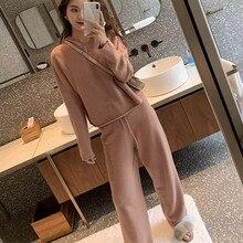 2019 sonbahar rahat kazak eşofman bayan örme kaşmir iki parçalı setleri kadın kapüşonlu eşofman üstü spor takım elbise kadın