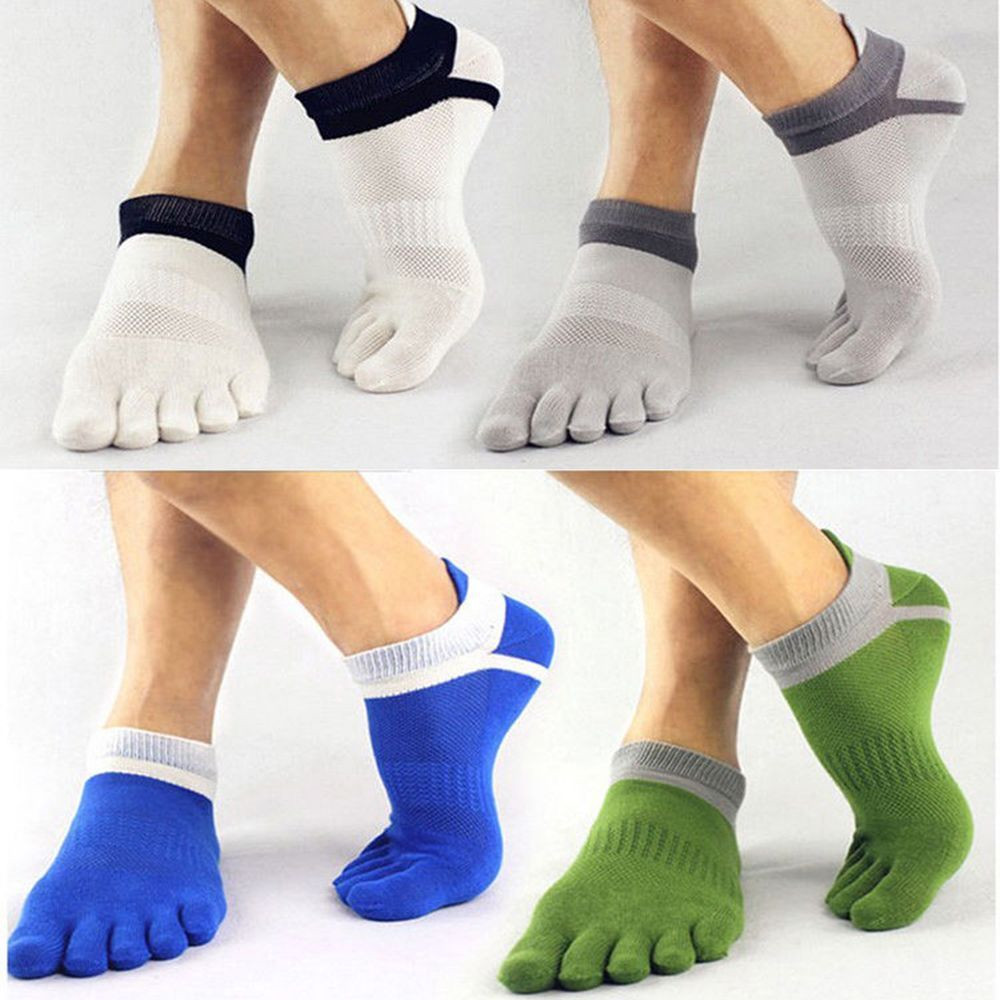 1 Pair Men's Five Finger Toe Ankle Socks Low Cut  Breathable Sports Running Five Finger Socks Casual Comfortable Cotton Sock