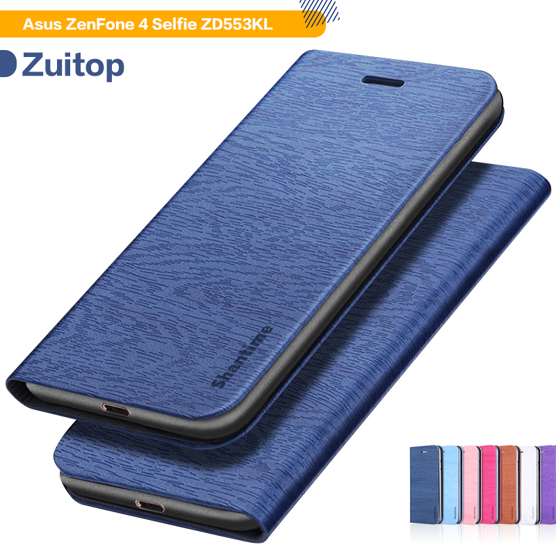 Wood grain PU Leather <font><b>Phone</b></font> <font><b>Case</b></font> For <font><b>Asus</b></font> <font><b>Zenfone</b></font> <font><b>4</b></font> <font><b>Selfie</b></font> ZD553KL Flip Book <font><b>Case</b></font> Business Wallet <font><b>Case</b></font> Soft Silicone Back Cover image