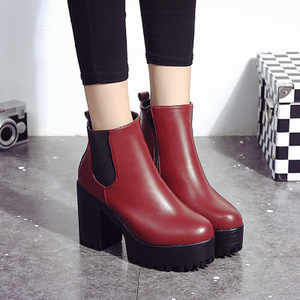 Image 5 - Chelsea Boots 2020 Female Leather Women Boots Thick Heels Ankle Boots For Women Round Toe Winter Shoes Women Flat Platform Boots