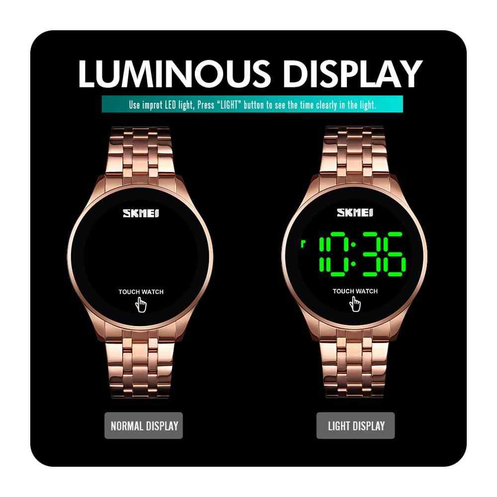 SKMEI بسيط الرجال ساعة رقمية موضة شاشة تعمل باللمس مصباح ليد عرض 30 متر مقاوم للماء الفولاذ المقاوم للصدأ حزام erkek كول ساتي 1579