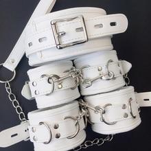 สีขาว SM PU หนัง Retro ปรับ Handcuffs Restraints ข้อเท้า Cuff Restraints BDSM Bondage Slave ของเล่นสำหรับผู้ใหญ่สำหรับคู่