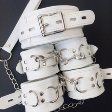 White SM PU Leather Retro Adjustable Handcuffs Restraints Ankle Cuff Restraints BDSM Bondag