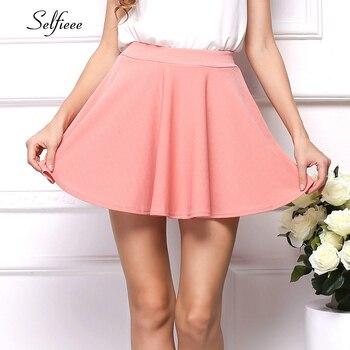Selfieee Pink Short Summer Dress Elastic Waist Pleated Fashion Causal Ladies Sweet Streetwear Beach Style Mini 2020