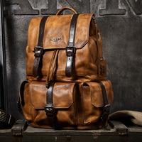 Large capacity Men travel bag mountaineering backpack handmade vegetable tanned Leather drawstring shoulder bag Daypack Male