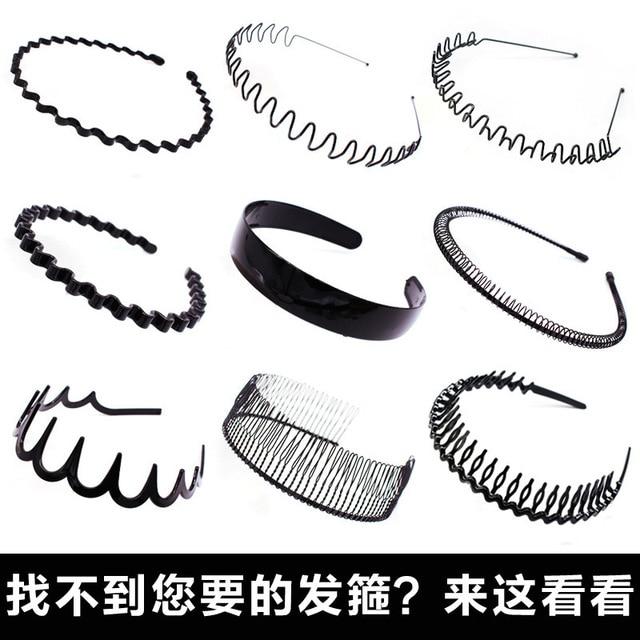 2020 New Fashion Mens Women Unisex Black Wavy Hair Head Hoop Band Sport Headband Hairband hair accessories