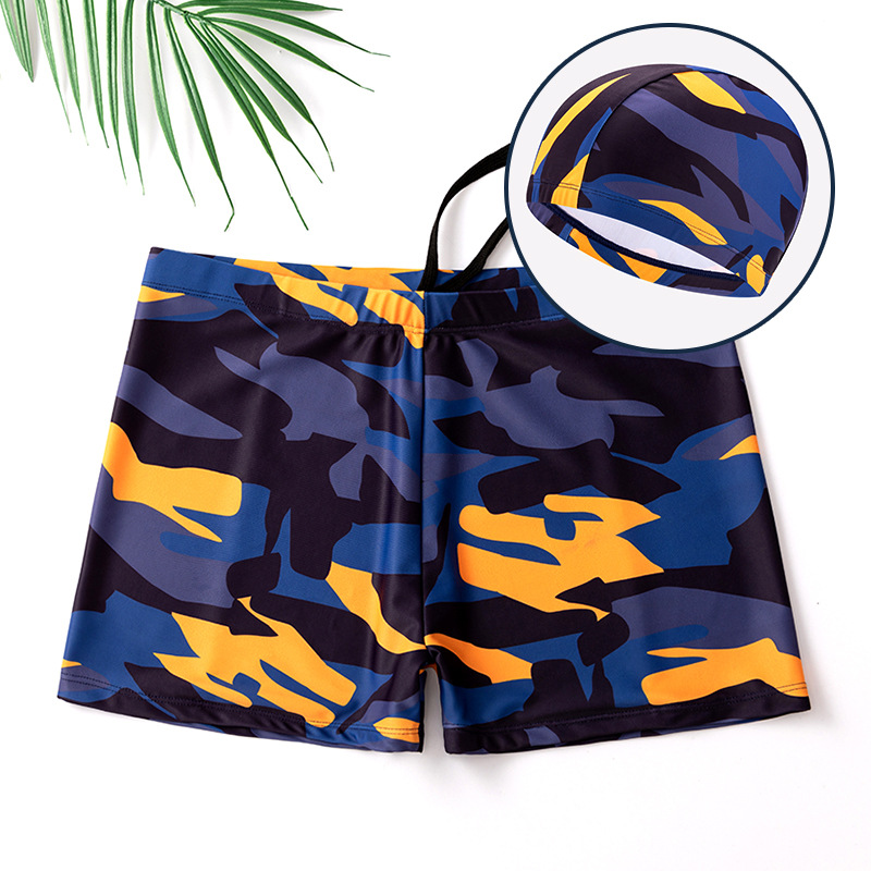 Swimming Trunks Men's Boxer Loose And Plus-sized Hot Springs-Style Anti-Awkward Men Swimsuit Goggles Swimming Cap Swimming Equip