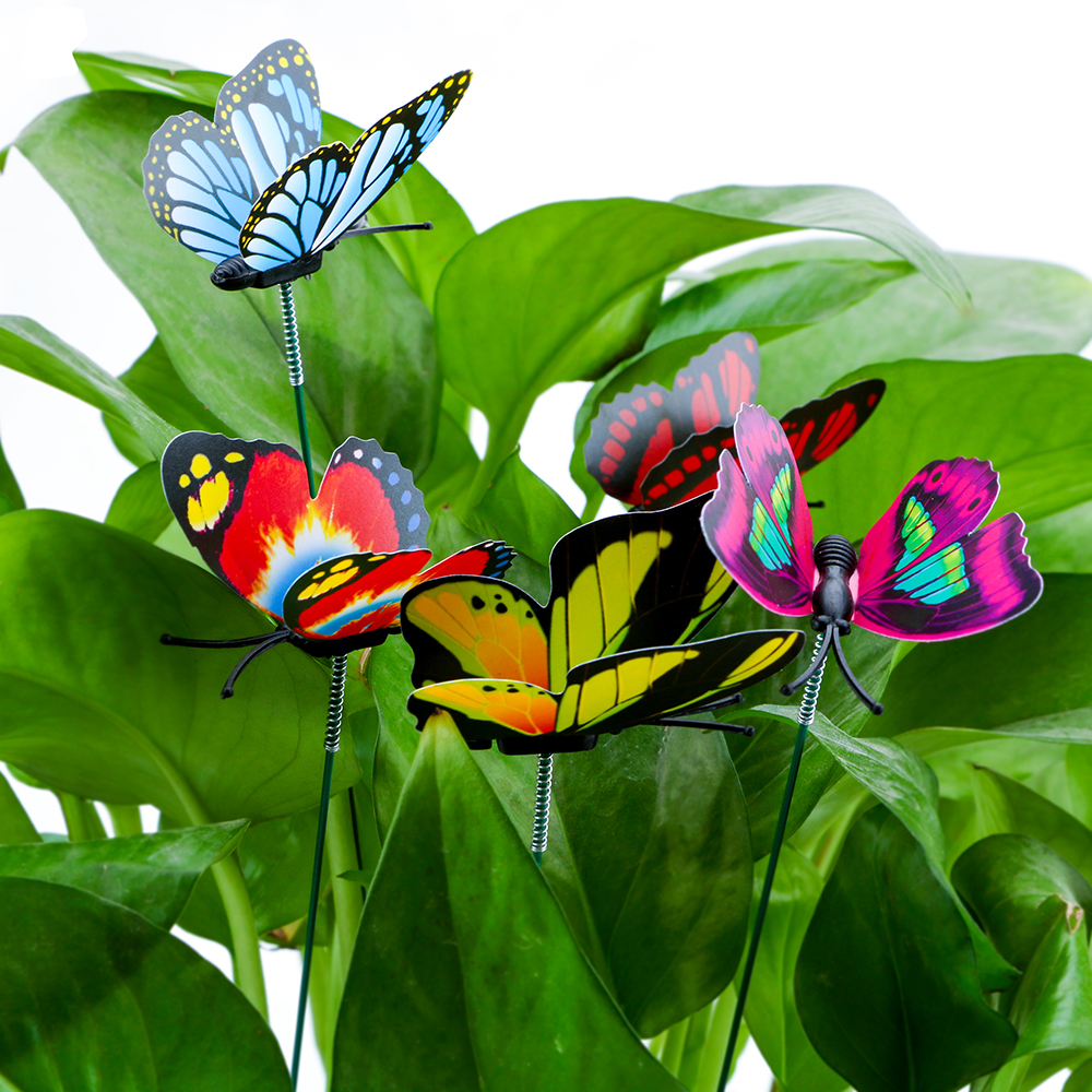 NICEYARD Colorful Butterfly Stakes Outdoor Decor With Pile Garden Supplies  5 Pcs/Bunch Butterfly Flower Pots Garden Decoration