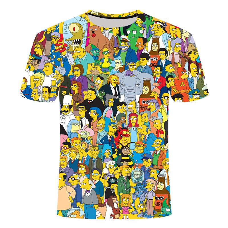 Simpson Animation 3D Printed T-shirts Men's Women's Children's With Round Collar And Short Sleeves In Summer Kid's Funny 6XL