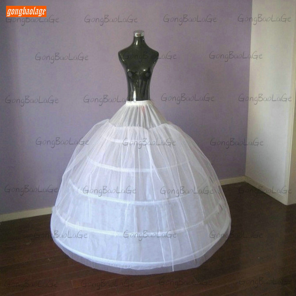 Elegant Women Bridal 5 Hoops White Petticoat Long Drawstring Waistband Petticoats Tulle Ball Gown Wedding Accessories Underskirt