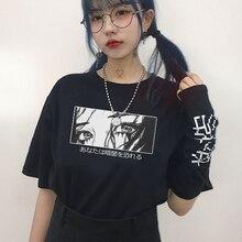 % 100 Katoen Ben je bang voor de donkere opdrukletters interesante puur katoenen camiseta los zomertop camiseta maat Harajuku