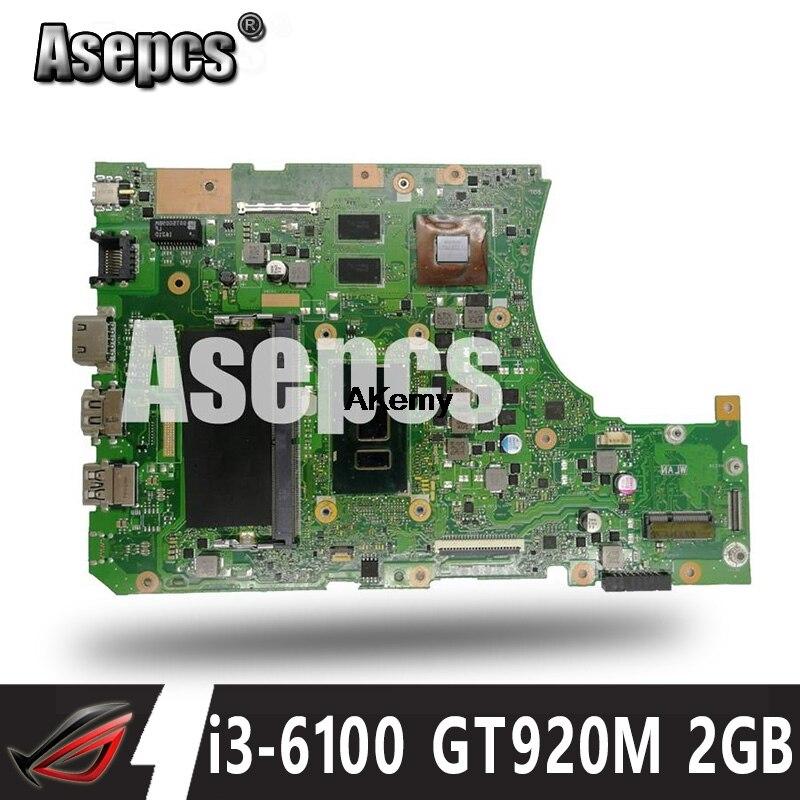 Asepcs x556uj i3-6100 cpu gt920m 2 gb N16V-GM-B1 4 ram mainboard rev 2.0 para asus x556uj x556uv placa-mãe do portátil