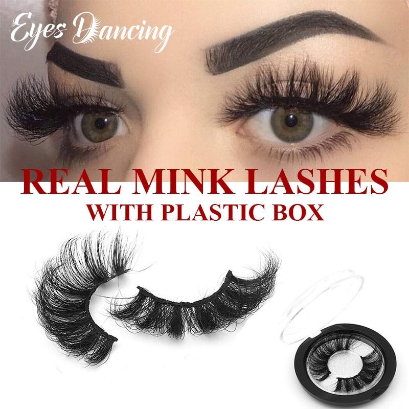 Eyes Dancing 100% Real Mink Lashes 3D 25mm Thick Natural Long Eyelashes Makeup Dramatic Volume Mink Hair Eyelash Extension Tools