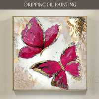 Pure Hand painted Wall Picture Abstract Butterfly with Gold Foil Painting on Canvas Modern Wall Picture Butterfly Oil Painting