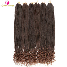 Golden Beauty 30inch Long Box Braids Crochet Hair With Curly Ends Synthetic Ombre Crochet Hair Extensions 24 Strands/pack