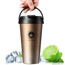 Bouteille isotherme de 500ml en acier inoxydable, tasse à bière, café, thé, gourde avec poignée, gobelet d'extérieur